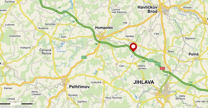The site of the collision on the D1 near Skorkov. Map data: Mapy.cz