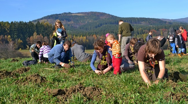 Volunteers planting trees in Jablunkov wildlife corridor