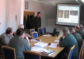 A presentation for members of hunting association